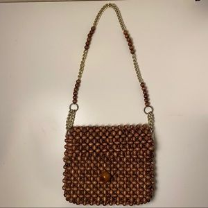 Vintage Japanese brown wood bead purse